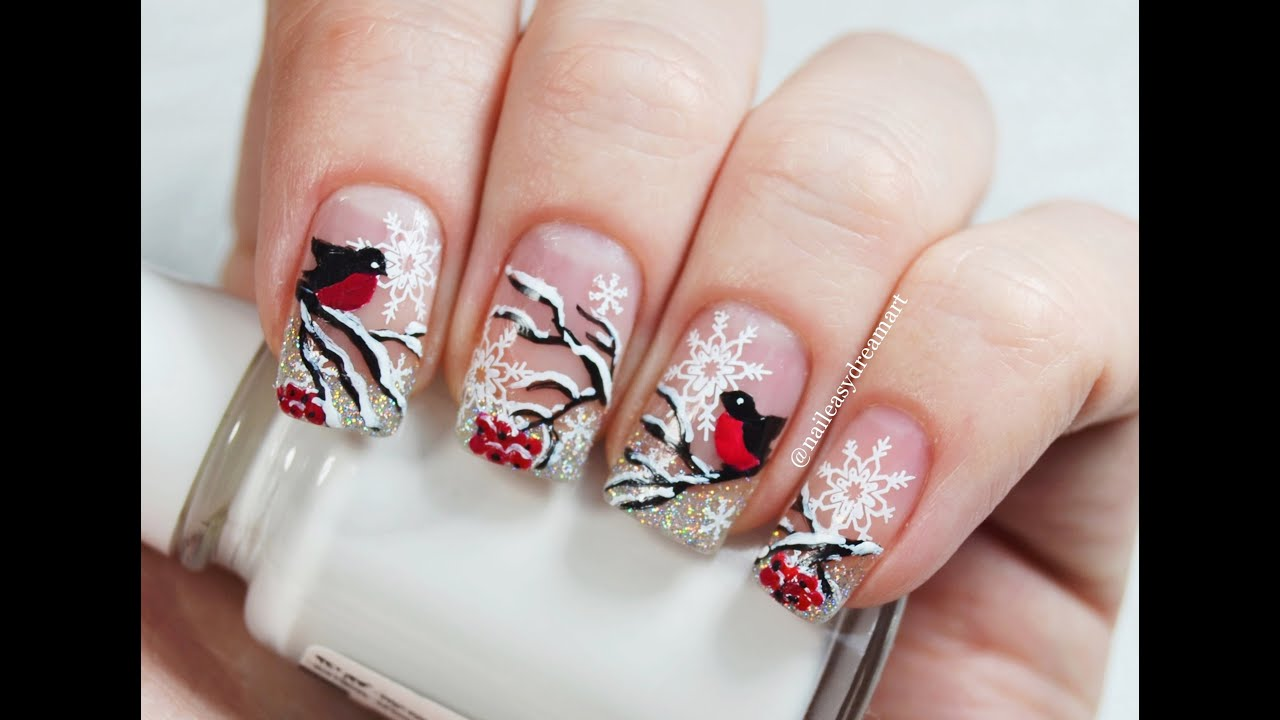 Russian Bullfinch Winter Nail Art Youtube