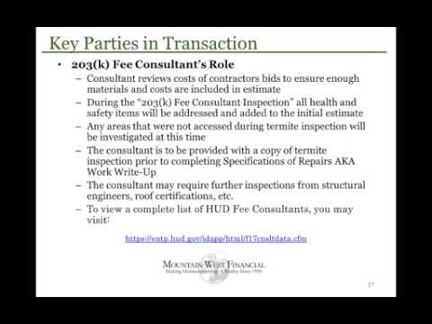 Full FHA 203k Loan Certification