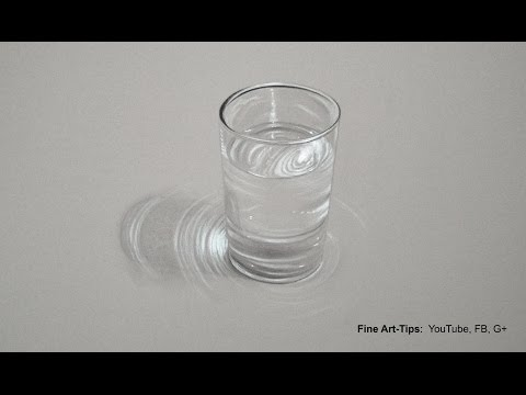 How to Draw a Glass of Water – Hyperrealistic Drawing – Tutorial