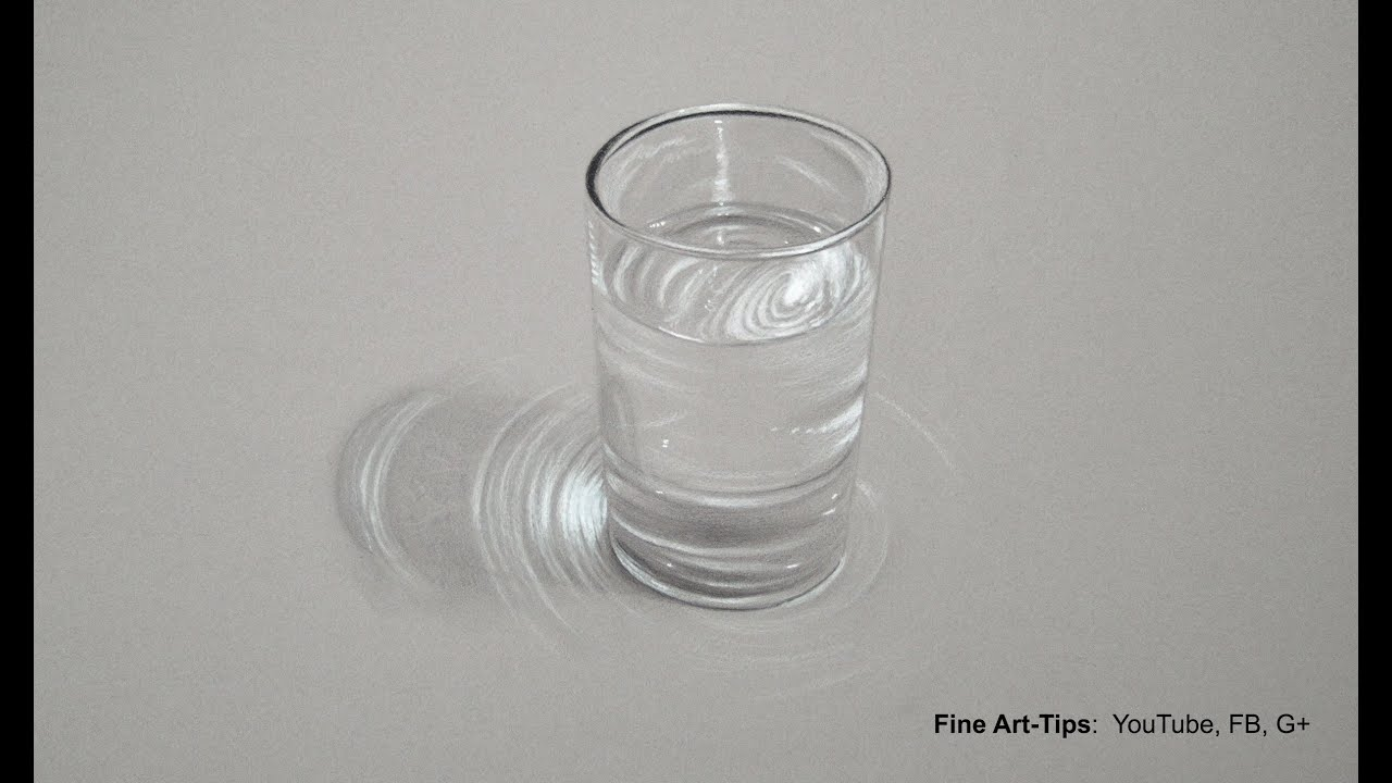 How to Draw a Glass of Water - Hyperrealistic Drawing - Tutorial ...