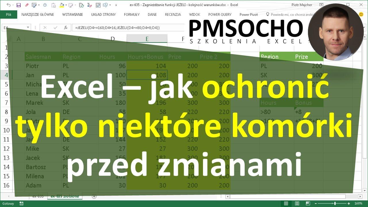 Excel 313 Jak Ochronić Zablokować Tylko Niektóre Komórki Przed Zmianami