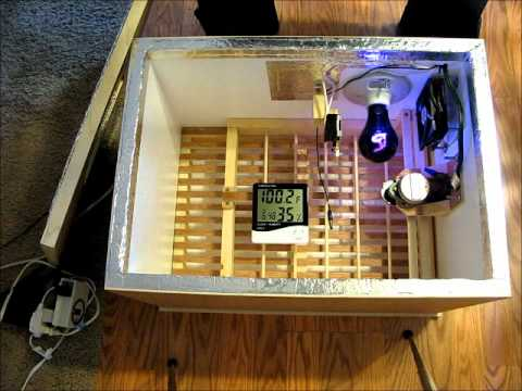 homemade incubator with fan thermostat and automatic egg turner rh youtube com