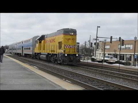 Union Pacific Yard Locomotive Pulling Two Coach Cars [12/9/16]