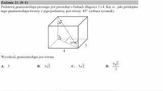 Podstawą graniastosłupa prostego jest prostokąt o bokach długości 3 i 4  Kąt α, jaki przekątna tego