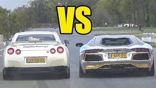 NISSAN GT-R R35 vs LAMBORGHINI AVENTADOR **🔥SOUND BATTLE🔥**