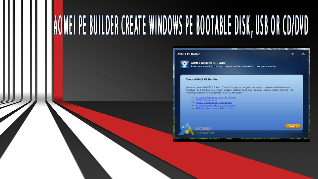 Baixar AOMEI PE Builder|Create Windows Live PE bootable disk, USB or CD/DVD