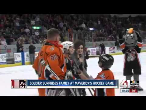 Soldier Surprises Sons at Hockey Game
