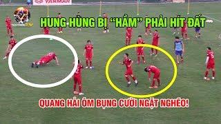 Đội tuyển Việt Nam chơi Game siêu lạ, Quang Hải ôm bụng cười ngặt nghẽo vì Huy Hùng bị củ hành