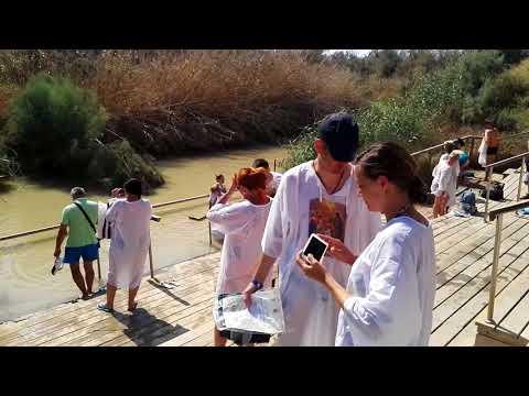 Here Prophet Joshua And The 12 Israelite Tribes Crossed The Jordan River. Israel-Jordan Border