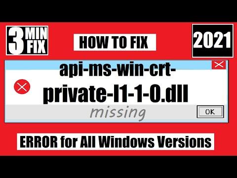 [𝟚𝟘𝟚𝟙] How To Fix api-ms-win-crt-private-l1-1-0.dll Missing/Not Found Error Windows 10 32 bit/64 bit
