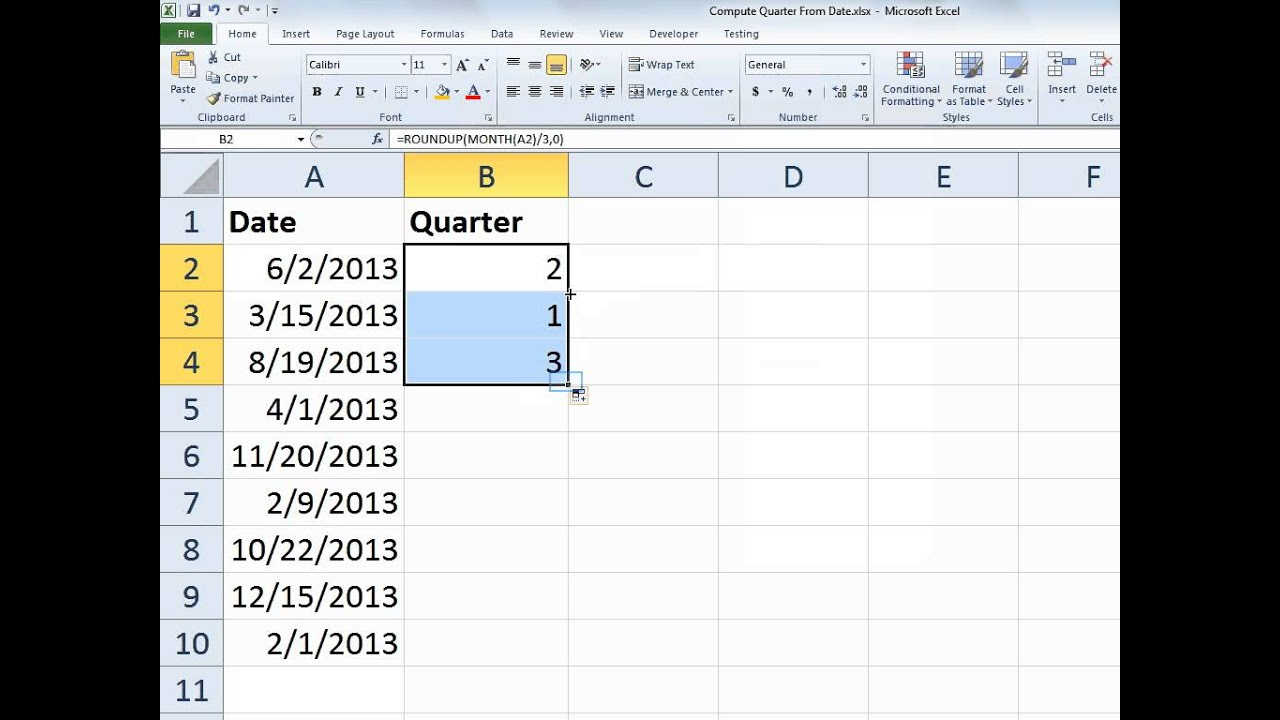 Excel Compute Quarter From A Date
