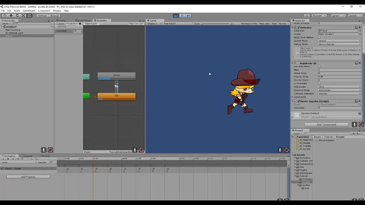Juego 2d Unity 5 Animacion Correr Cambiar Direccion Youtube