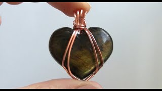 Wire Wrapped Heart Cabochon Pendant Tutorial beginner