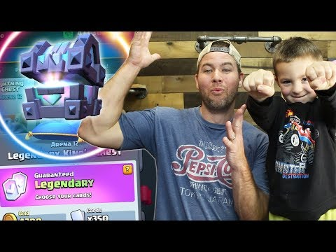 MY SON opens my 1st LEGENDARY KING'S CHEST - Clash Royale