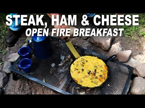 Open Fire Egg, Steak, Ham and Cheese breakfast by the BBQ Pit Boys