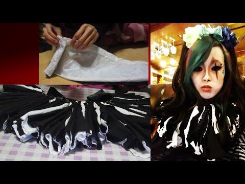 halloween ep 3:   HOW TO make gothic CLOWN RUFFLE collar DIY costume