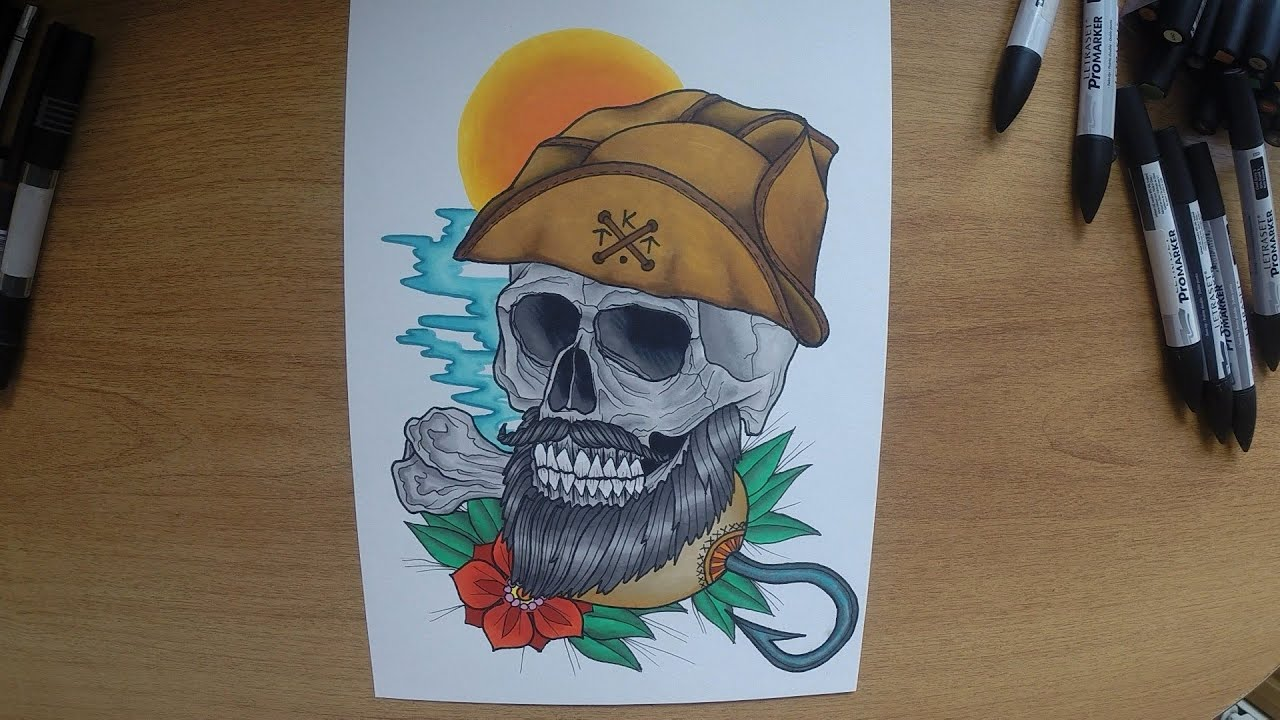 How to Draw Tattoo Art Sword Snake Skull Step by Step