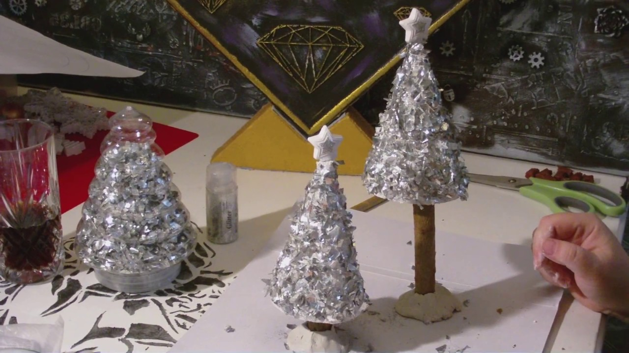 diy weihnachtsbaum tanne im silberlook vintage. Black Bedroom Furniture Sets. Home Design Ideas