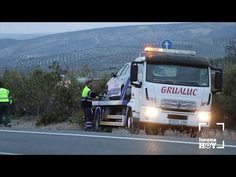 VÍDEO: Un herido en un accidente de tráfico junto a la entrada Lucena Sur de la A45