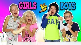 GIRLS vs BOYS BUTTER SLIME CHALLENGE!!!!!!