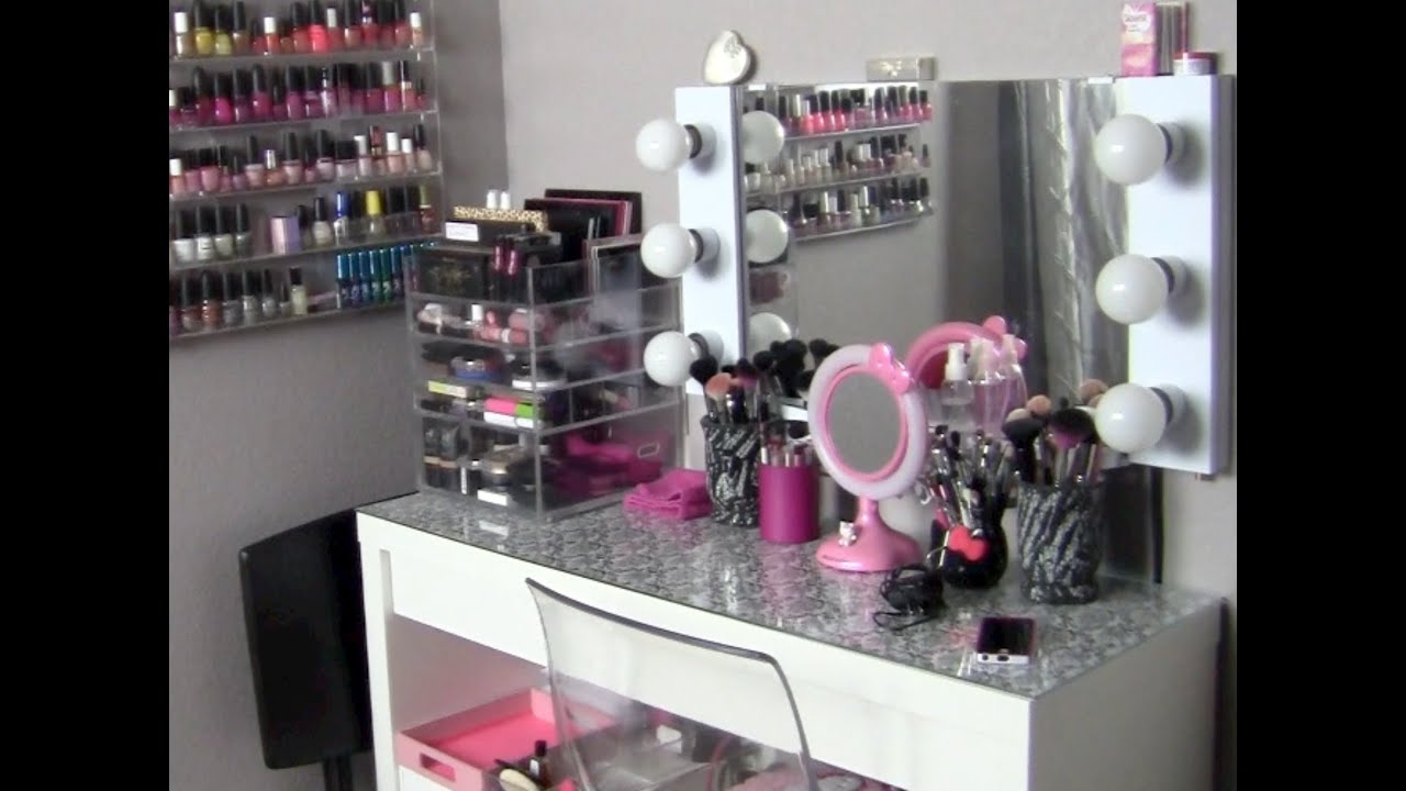 My makeup collection storage vanity tour featuring the clear my makeup collection storage vanity tour featuring the clear cube ikeas malm vanity table youtube watchthetrailerfo