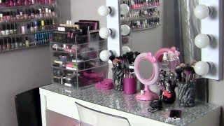 My Makeup Collection & Storage + Vanity Tour! ~featuring The Clear Cube & Ikea's Malm Vanity Table~