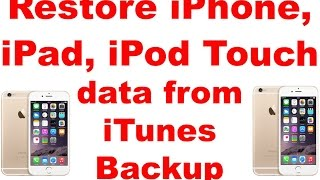 Restore iPhone 8 / 7 / 6S/ 6, iPad, iPod Touch data from iTunes Backup