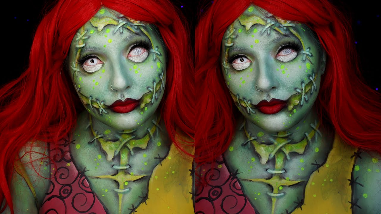 Christmas Halloween Makeup.Radioactive Sally Nightmare Before Christmas Halloween Makeup Tutorial
