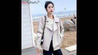 Куртка из искусственной кожи для женщин мотоциклетная кожи осенняя на молнии в корейском стиле