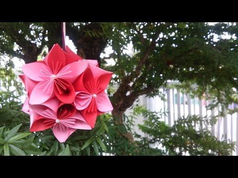 DIY - Hướng dẫn làm quả cầu hoa anh đào (Origami)