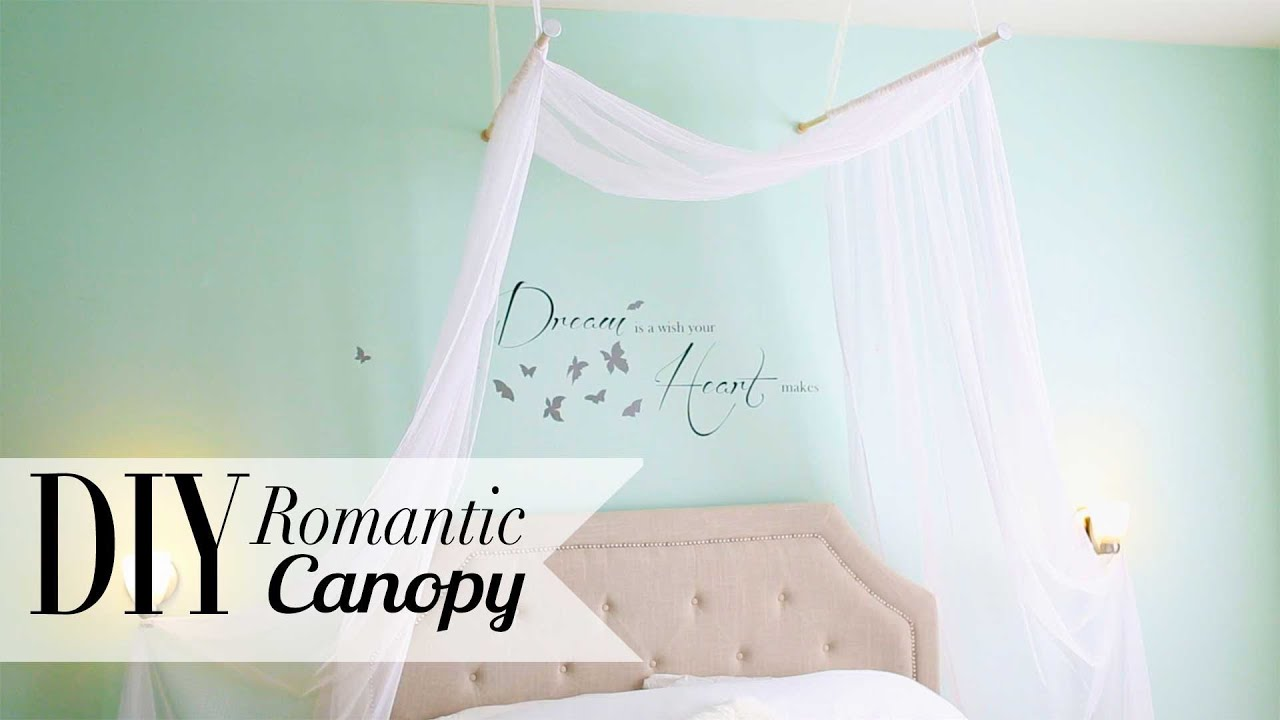 diy romantic bedroom canopy | room decor | ann le - youtube