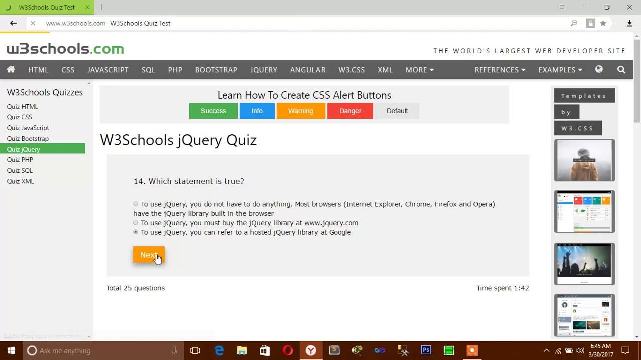 Web colors w3schools - W3schools Jquery Quiz