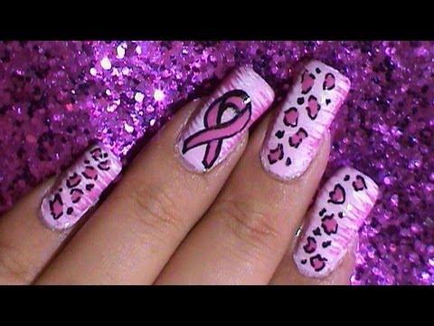 Breast Cancer Awareness Pink Ribbon Nail Art Design ...