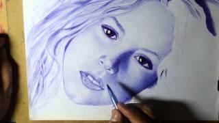 Shakira Portrait Ballpoint Pen Retrato a Bolígrafo Desenho Realista com Caneta