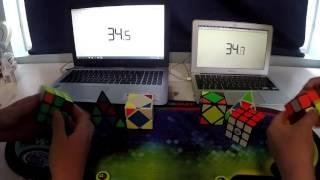 3x3 2x2 skewb pyraminx relay w daniel
