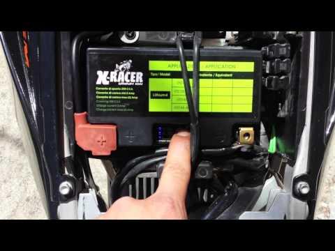 Test Battery X-RACER Lithium 4 on KTM 950 SM (Start)