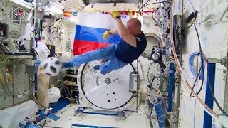 RUSSIAN COSMONAUTS PLAY FOOTBALL ON ISS