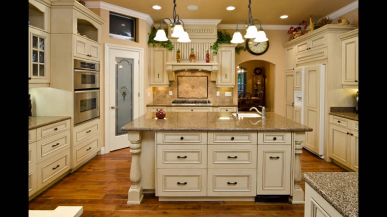 Antique cream colored kitchen cabinets youtube for Kitchen ideas cream cabinets