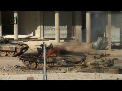 Suriye Ordusu'na ait T-72 tankın feci ölümü / Darayya - Şam