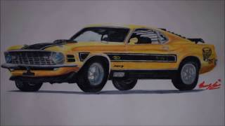 1970 Ford Mustang Mach 1 Twister Special Time Lapse Drawing