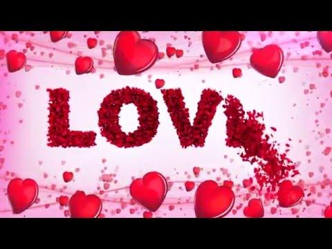 Футаж Сердечки LOVE с лепестками роз
