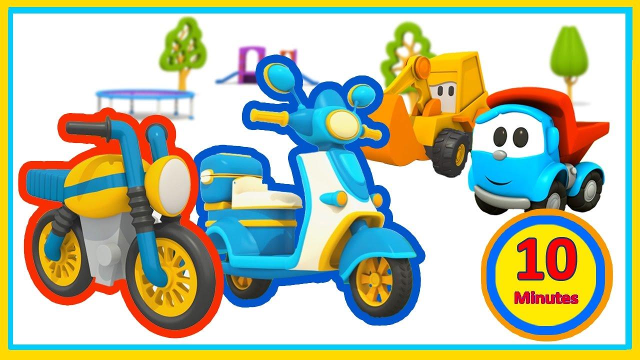 Cartoni animati per bambini leo junior e gli scooter