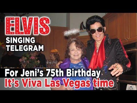 Jeni Gets ELVIS Singing Telegram for 75th Birthday (Las Vegas)