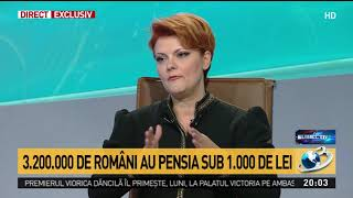 Lia Olguța Vasilescu, explicații în premieră despre noua lege a pensiilor