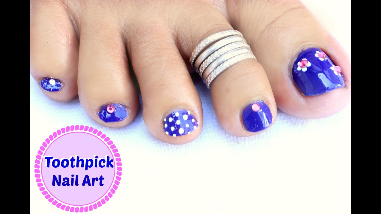 Easy and Quick Toe Nail Art Design using Toothpick - YouTube