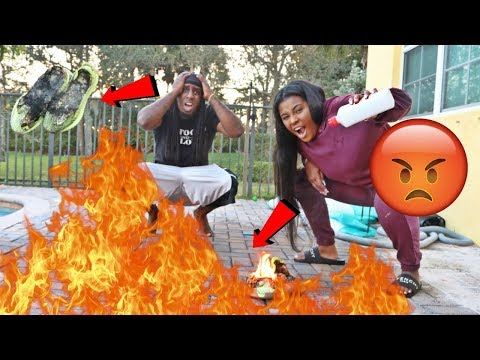 ANGRY WIFE BURNS HUSBANDS YEEZY PRANK!!! PRANK GONE WRONG!!!!