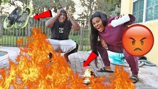 ANGRY WIFE BURNS HUSBANDS YEEZY PRANK!!! PRANK GONE WRONG!!!!