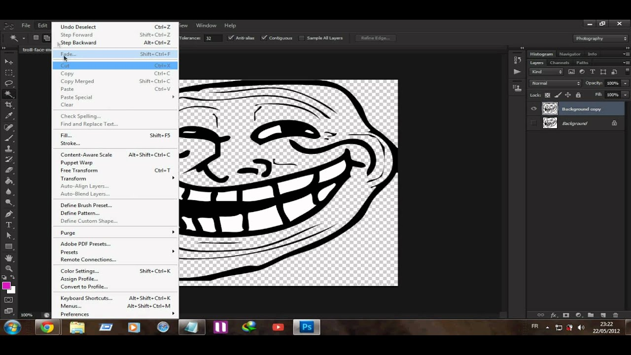 How to make a troll face meme brush with photoshop hd youtube voltagebd Choice Image