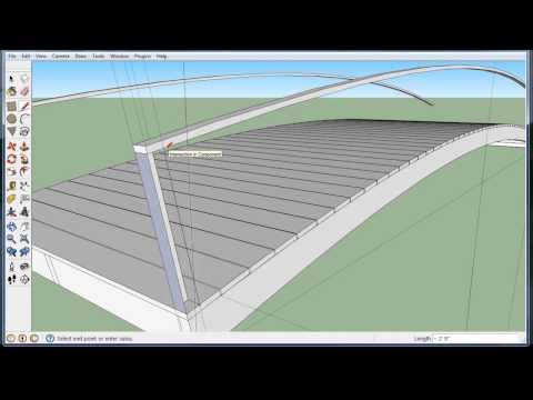 Build a wooden arch bridge in Google Sketchup