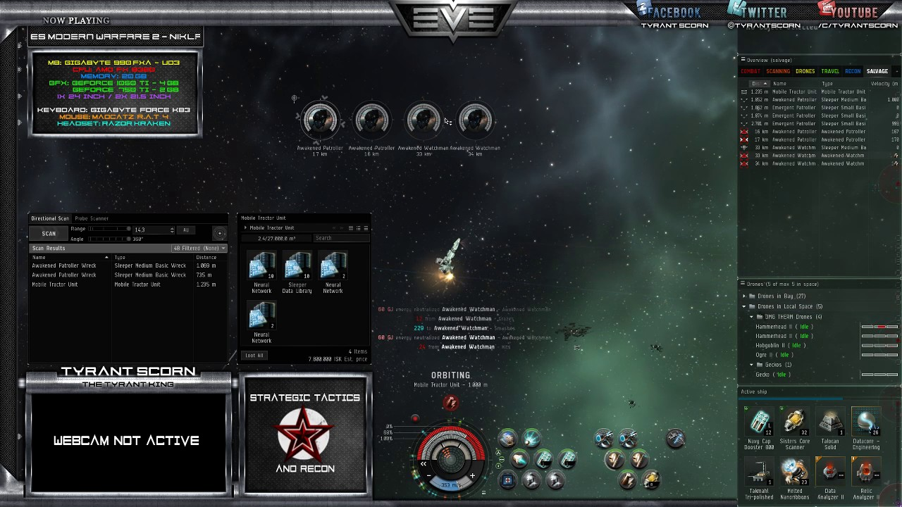 [Eve Online] C1 Wormhole PvE Combat Sites (Stream Highlight)